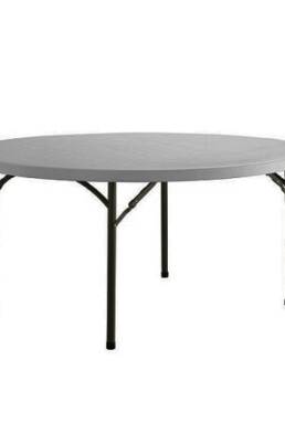 5 ft round poly folding table rental