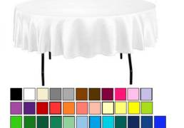 90 round poly linen table