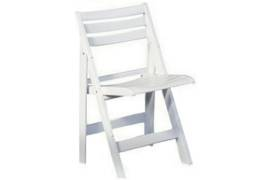 white slatted folding wedding party chair